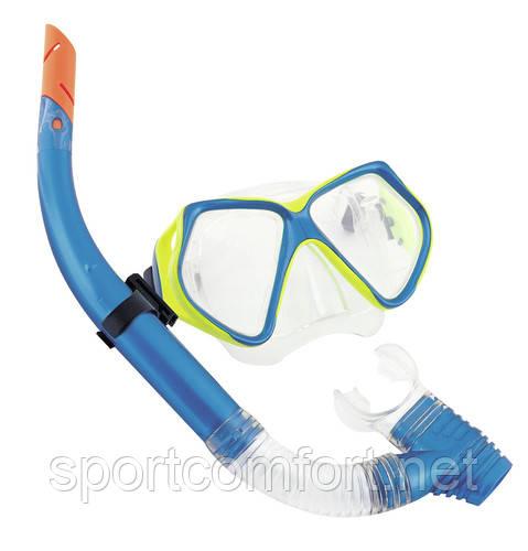 Маска с трубкой  для плавания Bestway (закаленное стекло и силикон) сине-желтая