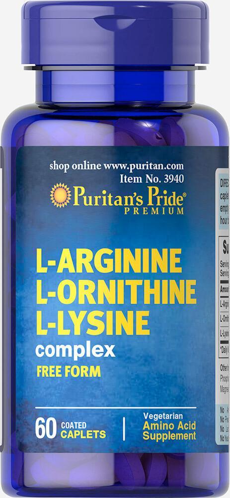 Аргинин Puritan's Pride L-Arginine L-Ornithine L-Lysine 60 caplets