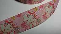 Лента репсовая Китти нежно розовая 25 мм метр, фото 1