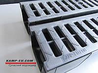Комплект поверхностного водоотвода с 90мм желобом и решеткой АБС черного цвета, фото 1