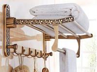 Полка для полотенец и халатов с откидным верхом настенная в бронзе 0521, фото 1