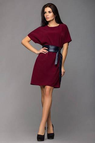 Повседневное  женское платье Лиза цвет бордовый  размер  42, 44, 46 французский трикотаж, фото 2