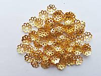 Обниматели (чашечки) для бусин Золотые 7 мм 100 шт/уп