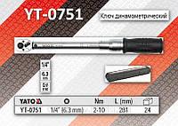 """Ключ динамометрический 1\4"""", F= 2-10Nm, L= 281мм, YATO YT-0751"""