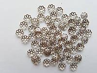 Обниматели (чашечки) для бусин Восьмилистник Серебряные 7 мм 100 шт/уп