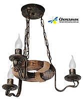 """Деревянная люстра """"Кольцо дачное"""" состаренное темное на 3 лампы"""