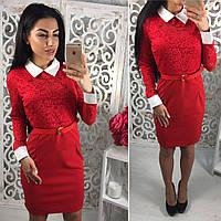 Платье модное облегающее с воротником и отделкой из гипюра креп-дайвинг 2 цвета SMol2176, фото 1