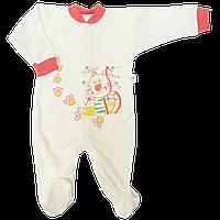 Комбинезон (человечек) р 68 3-6 месяцев демисезонный для новорожденных трикотажный Бежевый