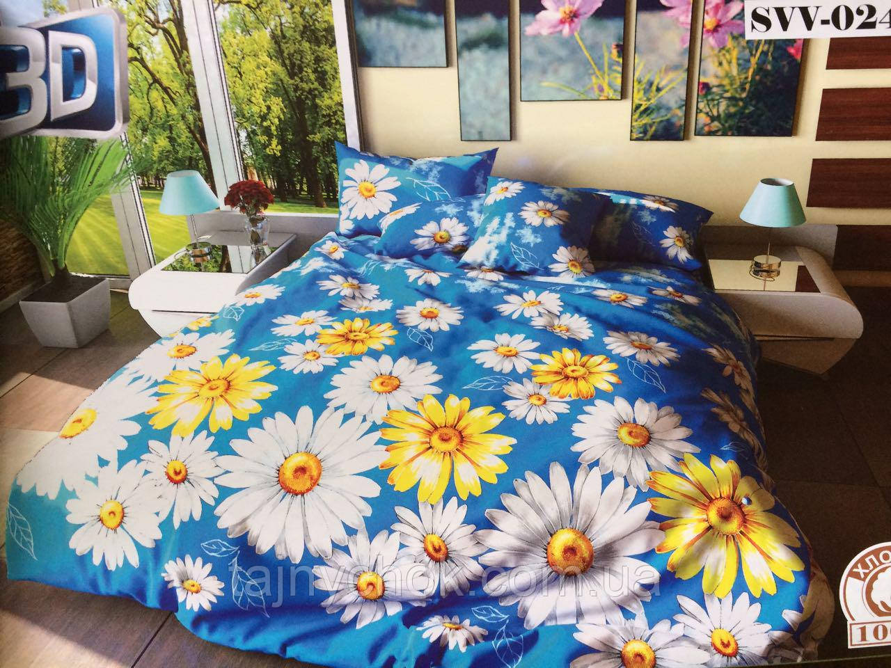 """Полуторное постельное белье """"Желто-белые ромашки на синем"""""""