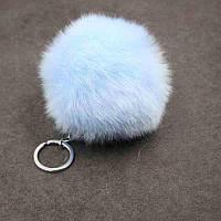 Брелок помпон меховой (искусственный мех) - цвет голубой
