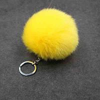 Брелок помпон меховой искусственный - цвет желтый