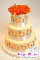 Свадебный торт с оранжевыми розами весом 6 кг