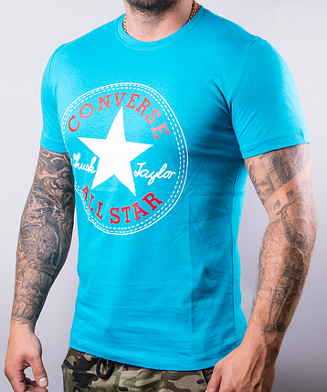 Мужская футболка Converse | 100 % хлопок, размеры: 44-52, цвет: бирюза, фото 2