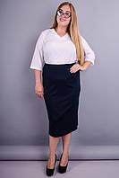Симона. Стильная юбка больших размеров. Синий. 50