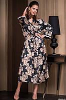 Длинный женский шелковый халат-кимоно Золотой цветок, 2XL/3XL 3309, Mia Anore, Италия