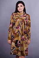 Марьяна. Батальное женское платье. Огурец коричневый. 50