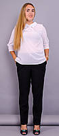 Кортни. Женская блузка супер батал. Белый. 62