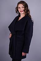 Софи. Женское пальто супер сайз. Синий. 60