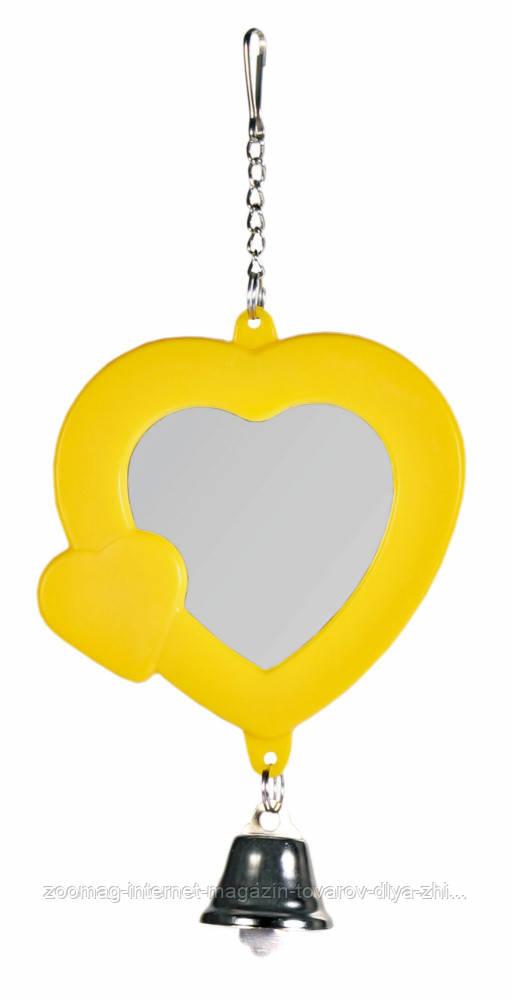 Зеркало-сердечко с колокольчиком пластиковое для птиц 7см, Trixie