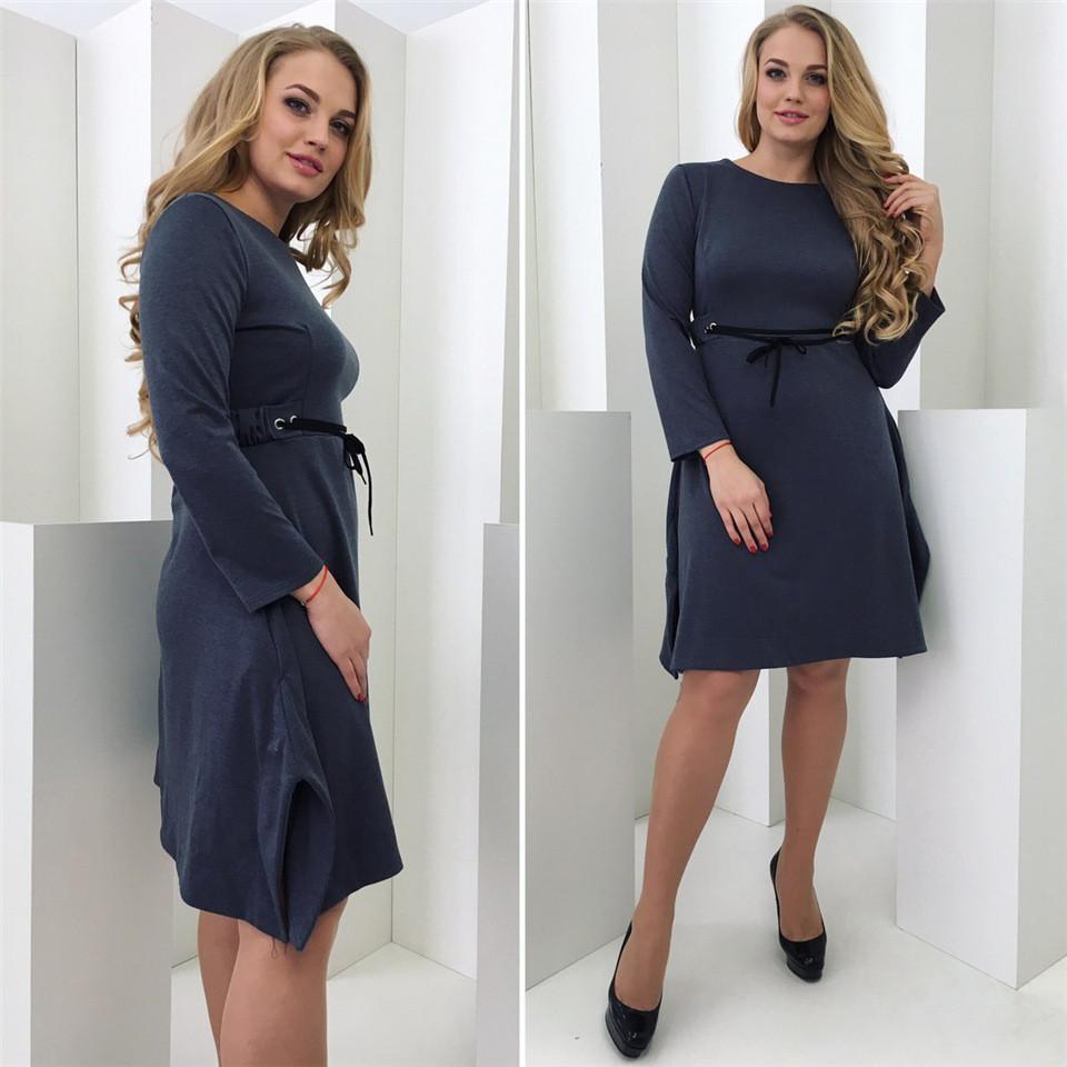 Асиметричное оригинальное платье Vitalina с поясом (2 цвета) 102(344)