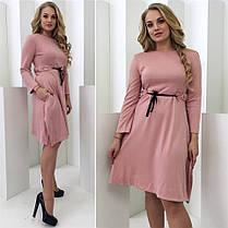 Асиметричное оригинальное платье Vitalina с поясом (2 цвета) 102(344), фото 3