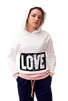Модный свитшот для девочки с надписью из пайеток