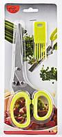Ножницы для зелени HOME MARK с щеточкой, Кухонные ножницы для нарезки зелени, Ножницы 5 лезвий, фото 1