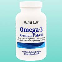 Рыбий жир Омега-3 премиум-класса, без ГМО, без глютена, 100 капсул из рыбьего желатина