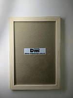 Рамка деревянная, шлифованная, с подложкой и стеклом 30х20см., фото 1