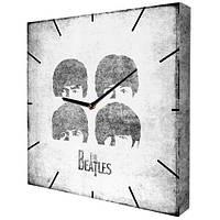 Черно белые настенные часы с принтом The Beatles