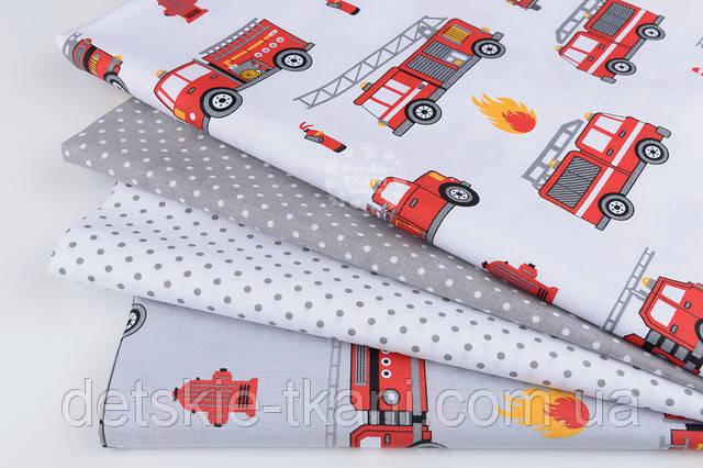 Ткань хлопковая с пожарными машинами