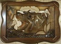 Настенная резная картина из дерева Медведь