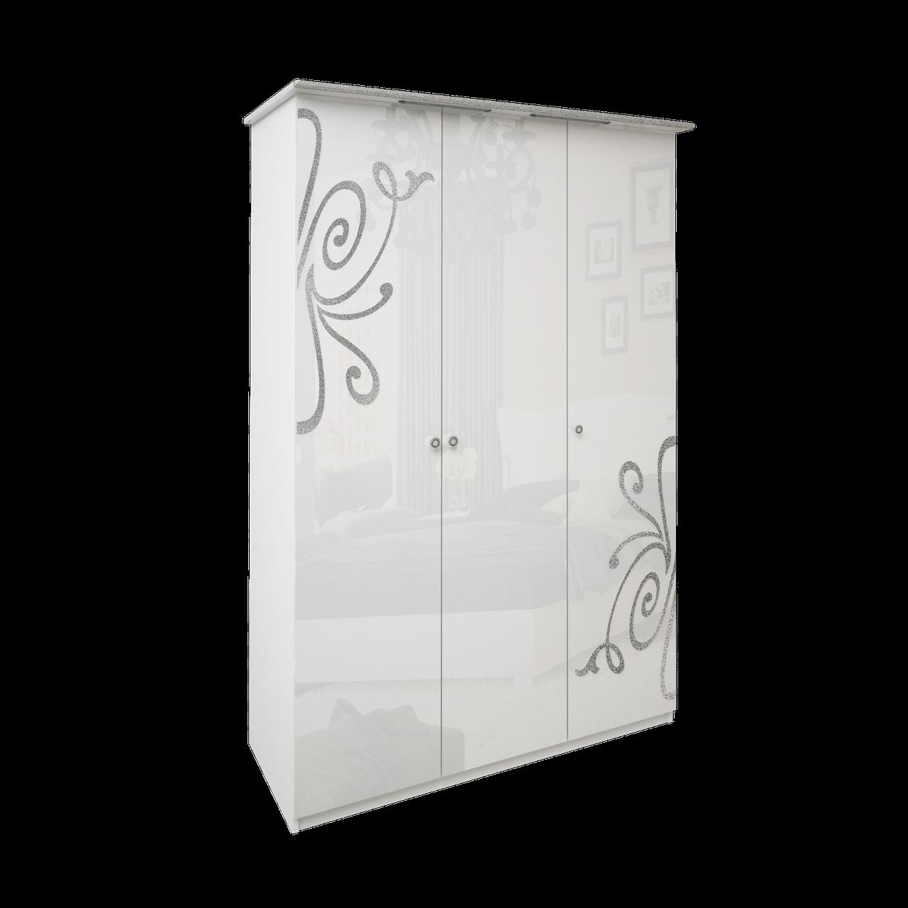 Шафа (шкаф) з ДСП/МДФ в спальню/вітальню/дитячу Богема 3Д без дзеркал білий Миро-Марк