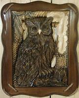 Настенная резная картина из дерева Сова