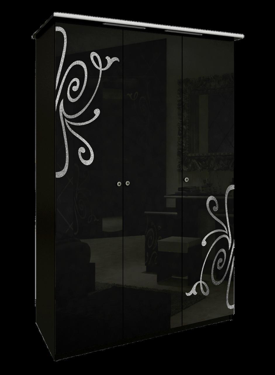 Шафа (шкаф) з ДСП/МДФ в спальню/вітальню/дитячу Богема 3Д без дзеркал чорний Миро-Марк