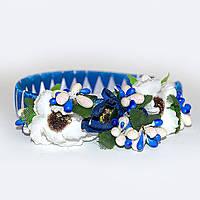 Веночек для волос Синий с белыми маками