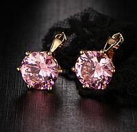 Серьги с розовыми кристаллами код 1381