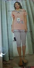 Женские хлопковые пижамы футболка с капри