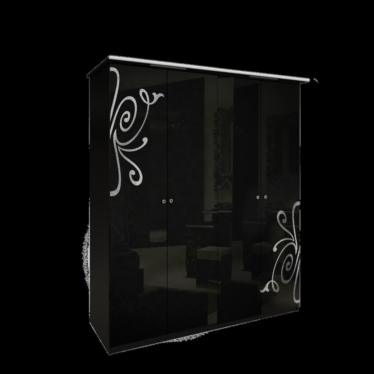 Шафа (шкаф) з ДСП/МДФ в спальню/вітальню/дитячу Богема 4Д без дзеркал чорний Миро-Марк
