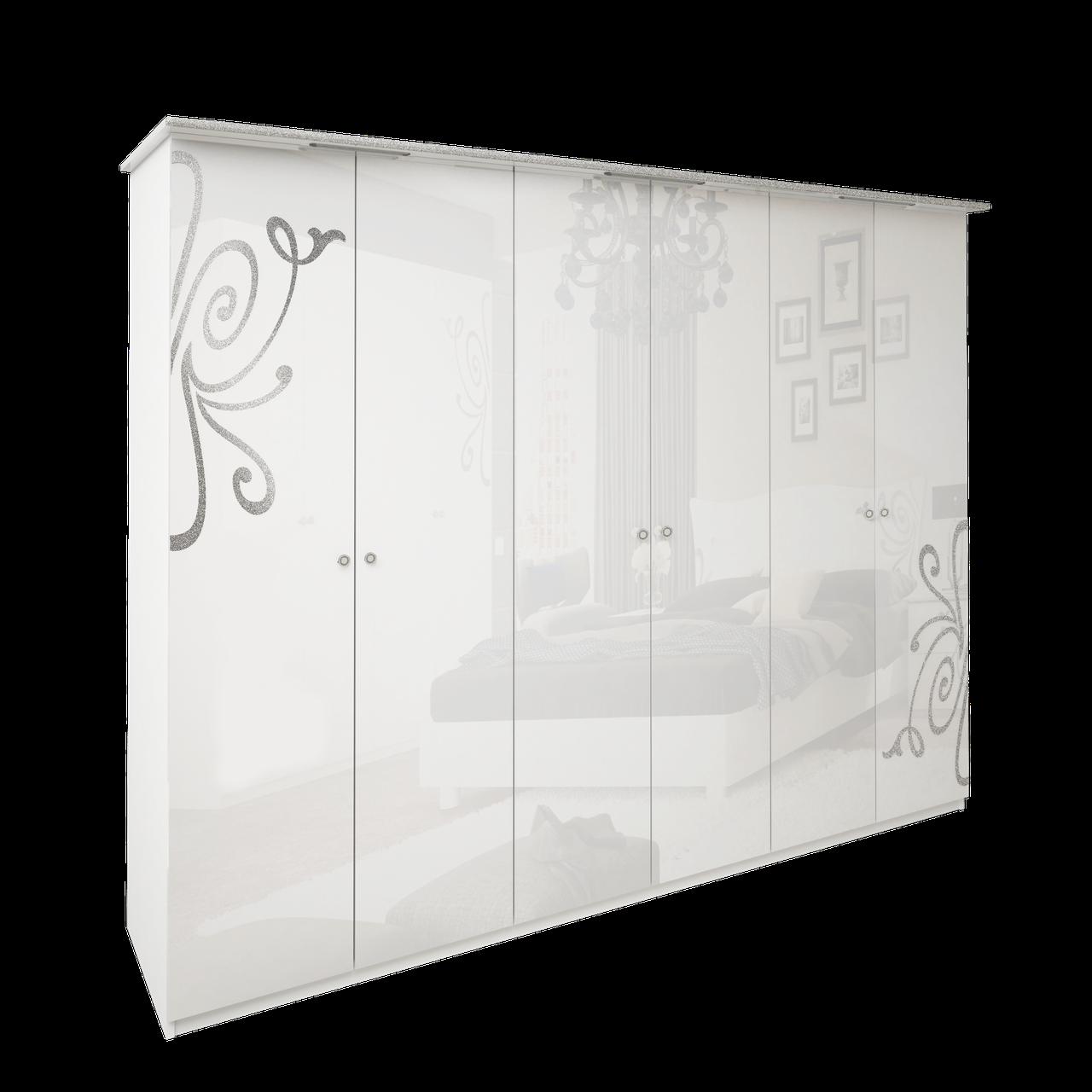 Шафа (шкаф) з ДСП/МДФ в спальню/вітальню/дитячу Богема 6Д без дзеркал білий Миро-Марк