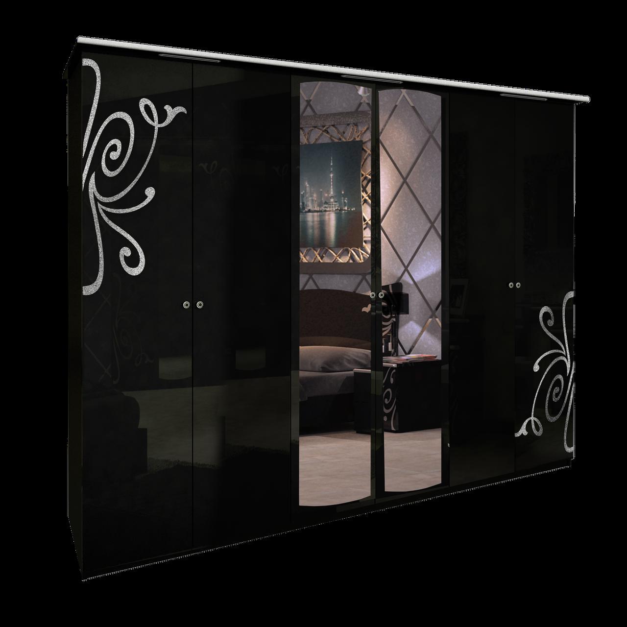 Шафа (шкаф) з ДСП/МДФ в спальню/вітальню/дитячу Богема 6Д чорний Миро-Марк
