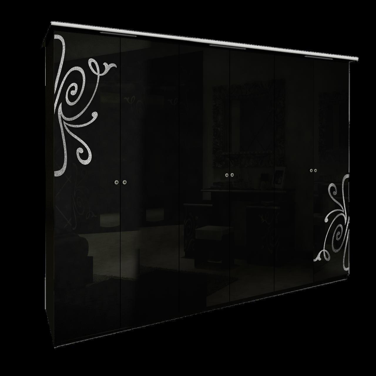 Шафа (шкаф) з ДСП/МДФ в спальню/вітальню/дитячу Богема 6Д без дзеркал чорний Миро-Марк