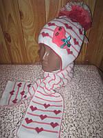 """Детская шерстяная шапка с шарфиком для девочки """"Сердечки"""""""