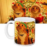 Кружка подарок с принтом Новый год Коты