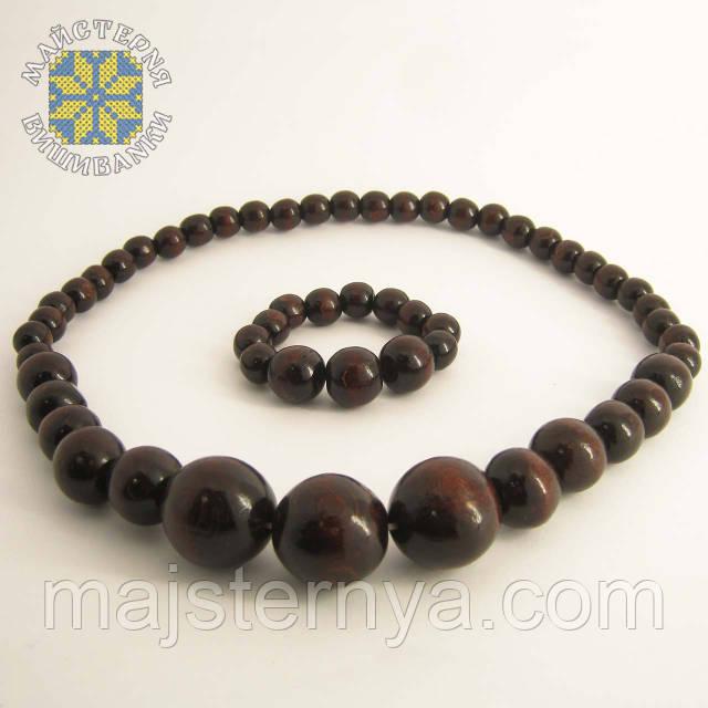 Купити намисто з браслетом коричневого кольору