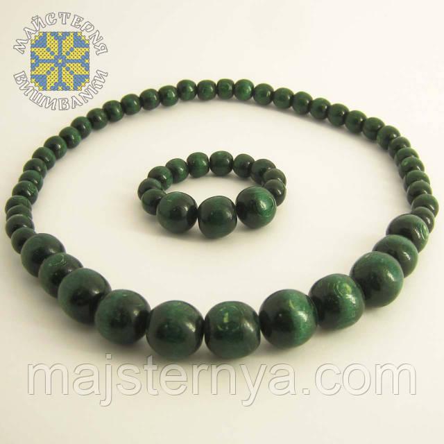Купити намисто з браслетом темно-зеленого кольору