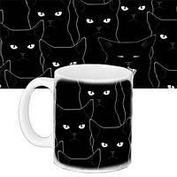 Кружка подарок с принтом Черные коты