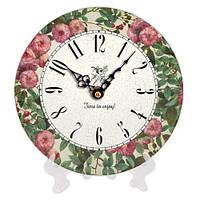 Настольные часы из дерева с цветами 18 см