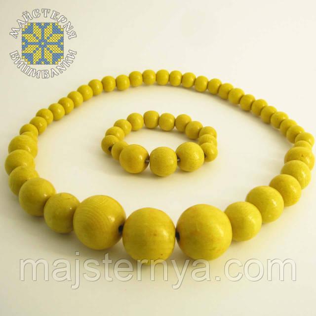 Купити намисто з браслетом жовтого кольору