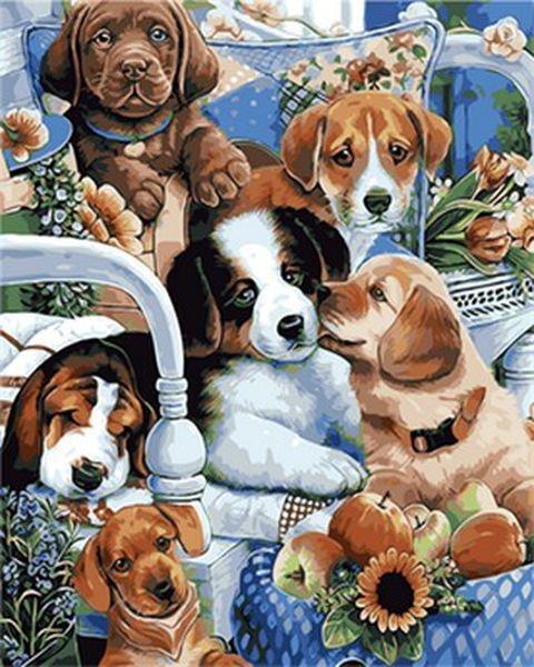 Картины по номерам 40×50 см. Милые щенята Художник Дженни Ньюлэнд